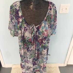 George Plus sheer printed blouse size 3X